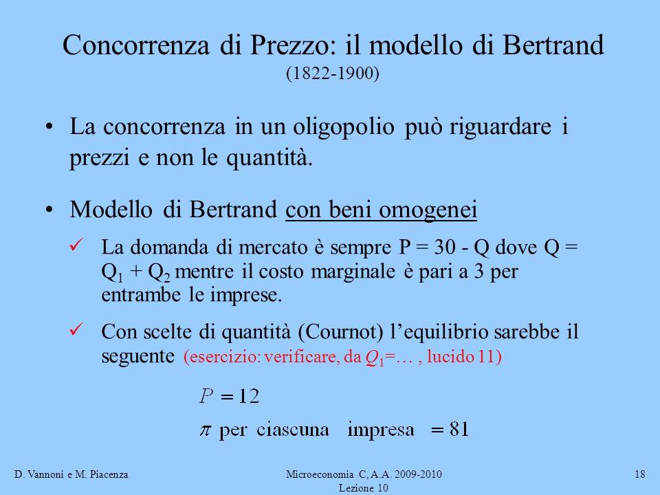 Concorrenza di Prezzo: il modello di Bertrand (1822-1900)