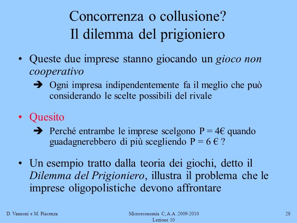 Concorrenza o collusione Il dilemma del prigioniero