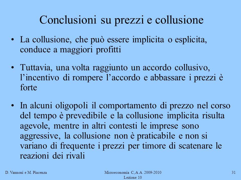 Conclusioni su prezzi e collusione