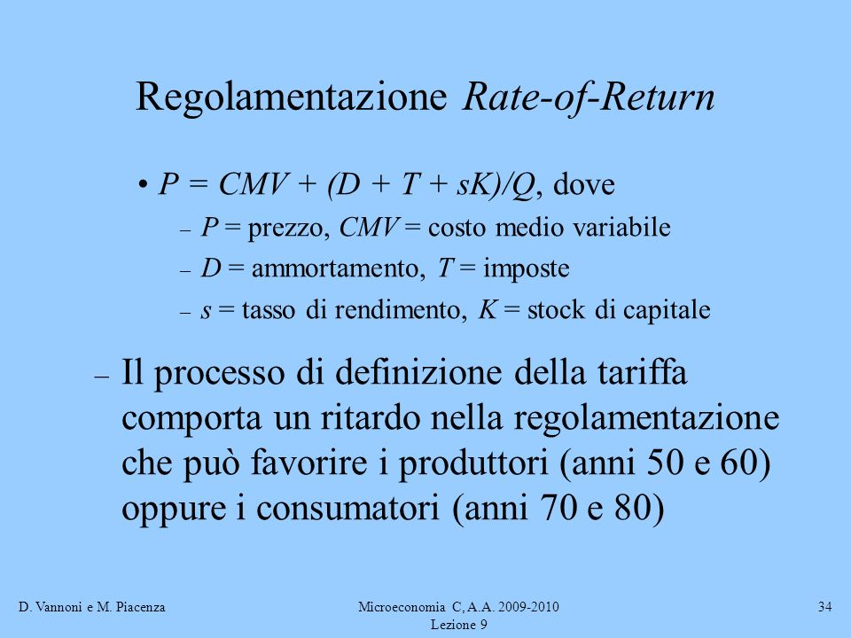 Regolamentazione Rate-of-Return