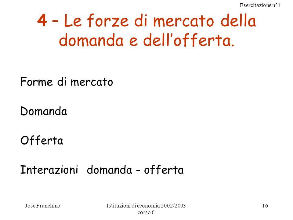4 – Le forze di mercato della domanda e dell'offerta.