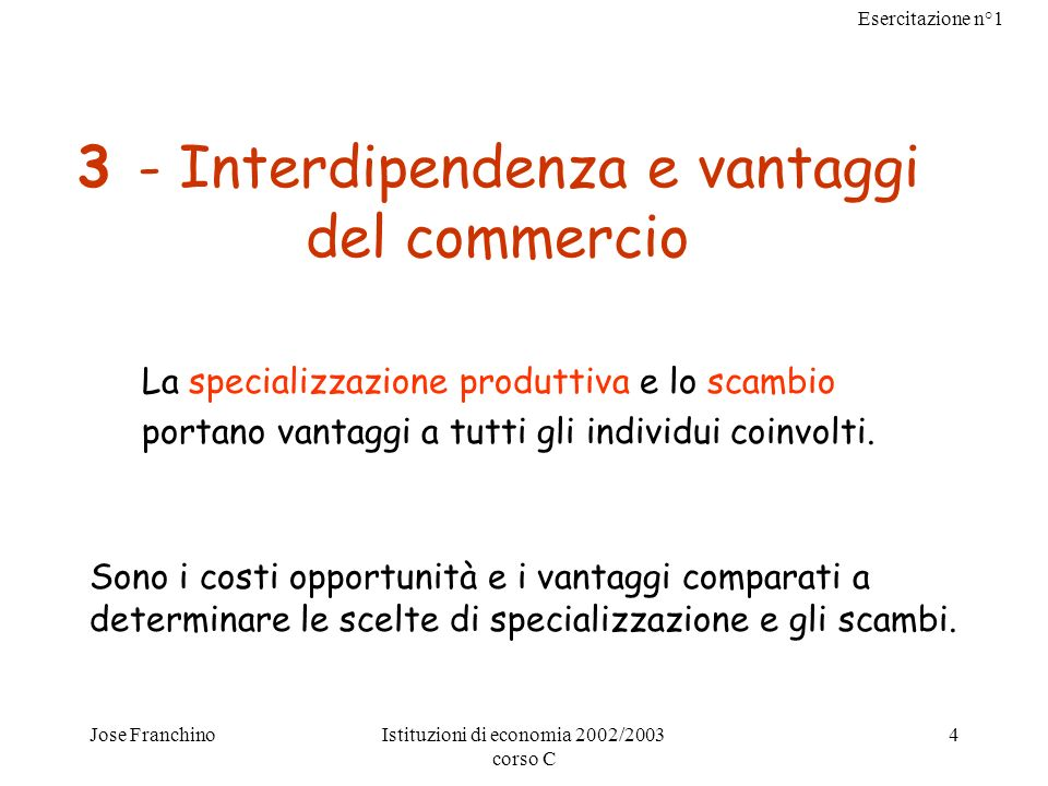 3 - Interdipendenza e vantaggi del commercio