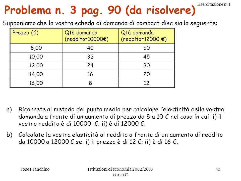 Problema n. 3 pag. 90 (da risolvere)