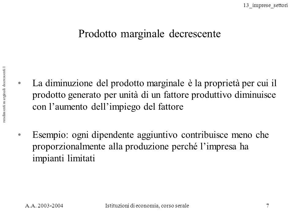 rendimenti marginali decrescenti 1