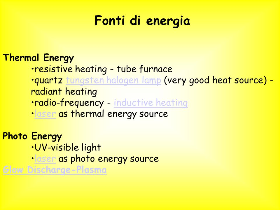 Fonti di energia Thermal Energy resistive heating - tube furnace