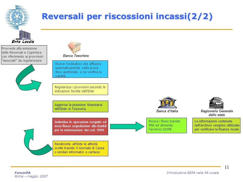 Reversali per riscossioni incassi(2/2) Ragioneria Generale dello stato
