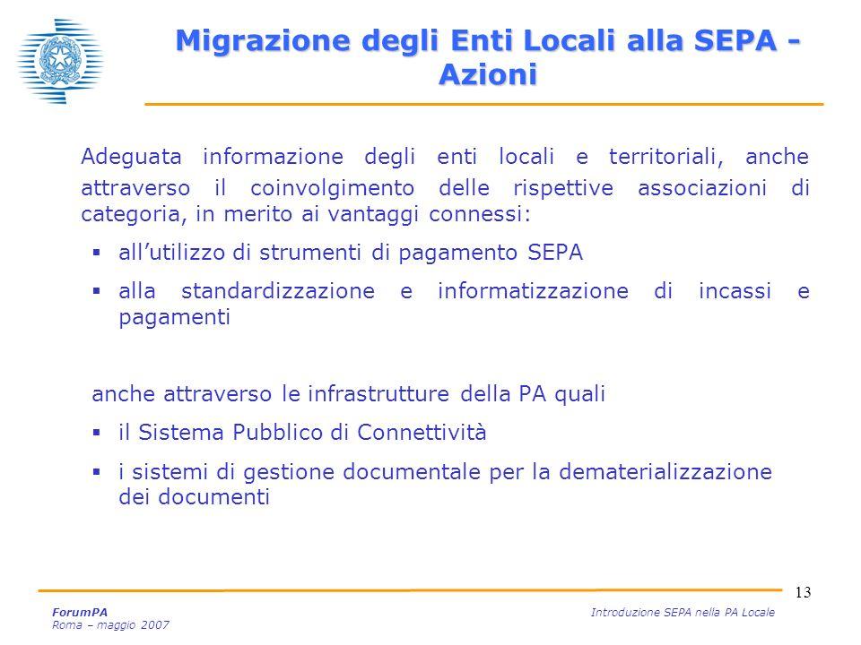 Migrazione degli Enti Locali alla SEPA - Azioni