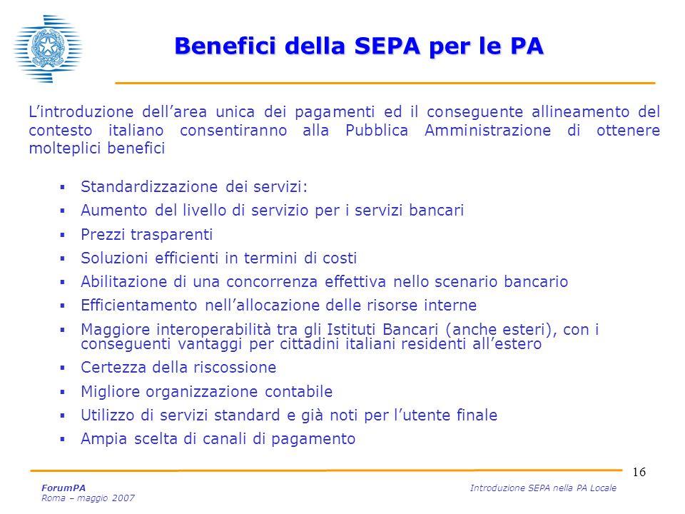 Benefici della SEPA per le PA