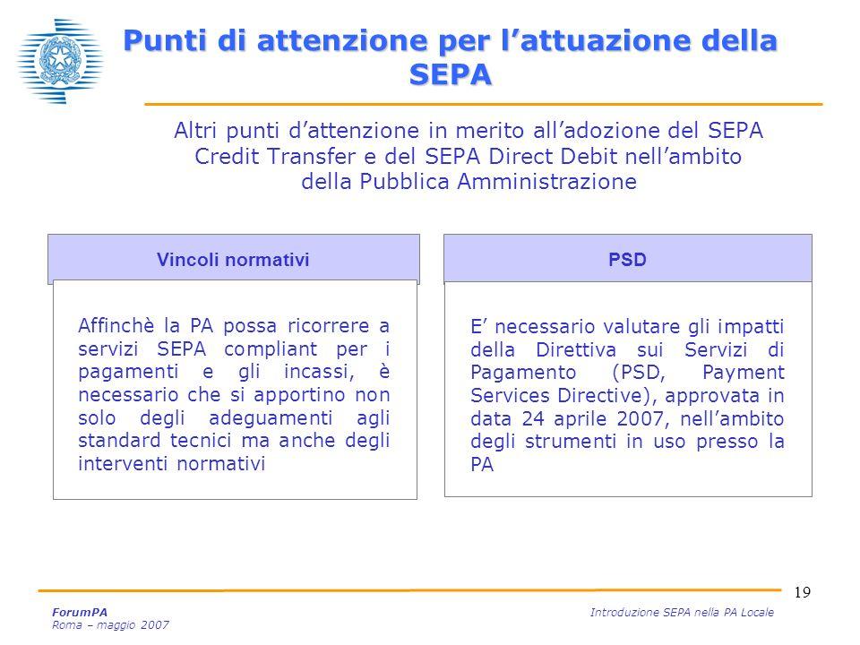 Punti di attenzione per l'attuazione della SEPA