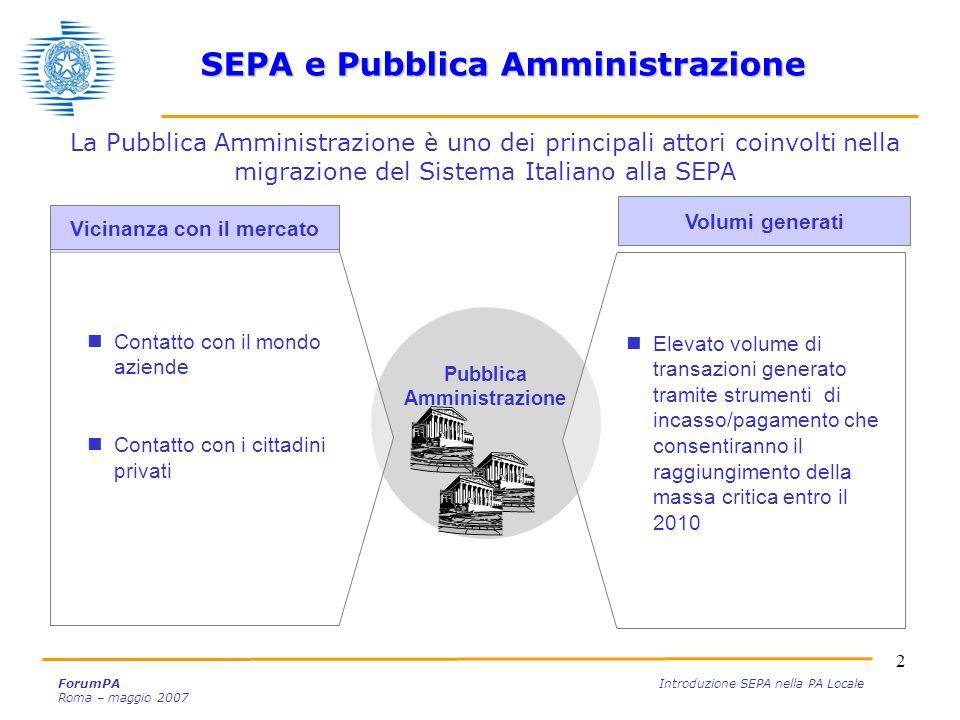 SEPA e Pubblica Amministrazione Vicinanza con il mercato