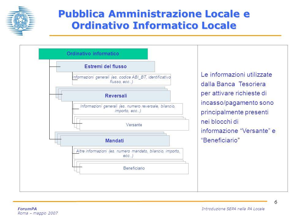 Pubblica Amministrazione Locale e Ordinativo Informatico Locale