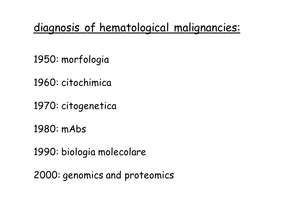 diagnosis of hematological malignancies: