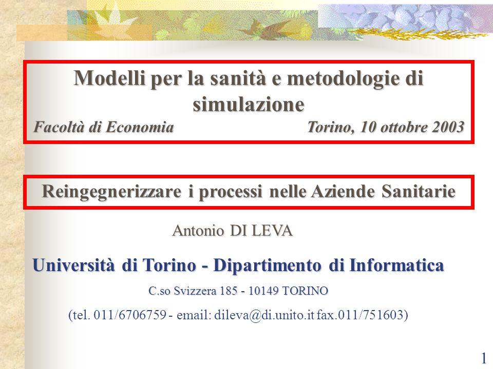 Modelli per la sanità e metodologie di simulazione