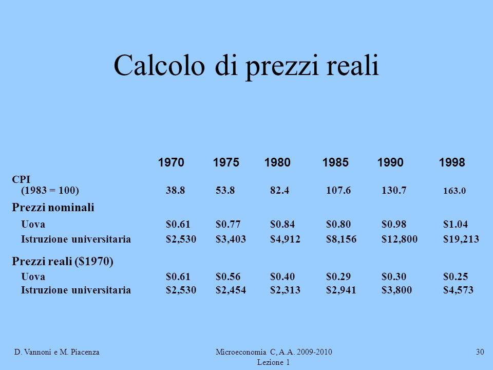 Calcolo di prezzi reali