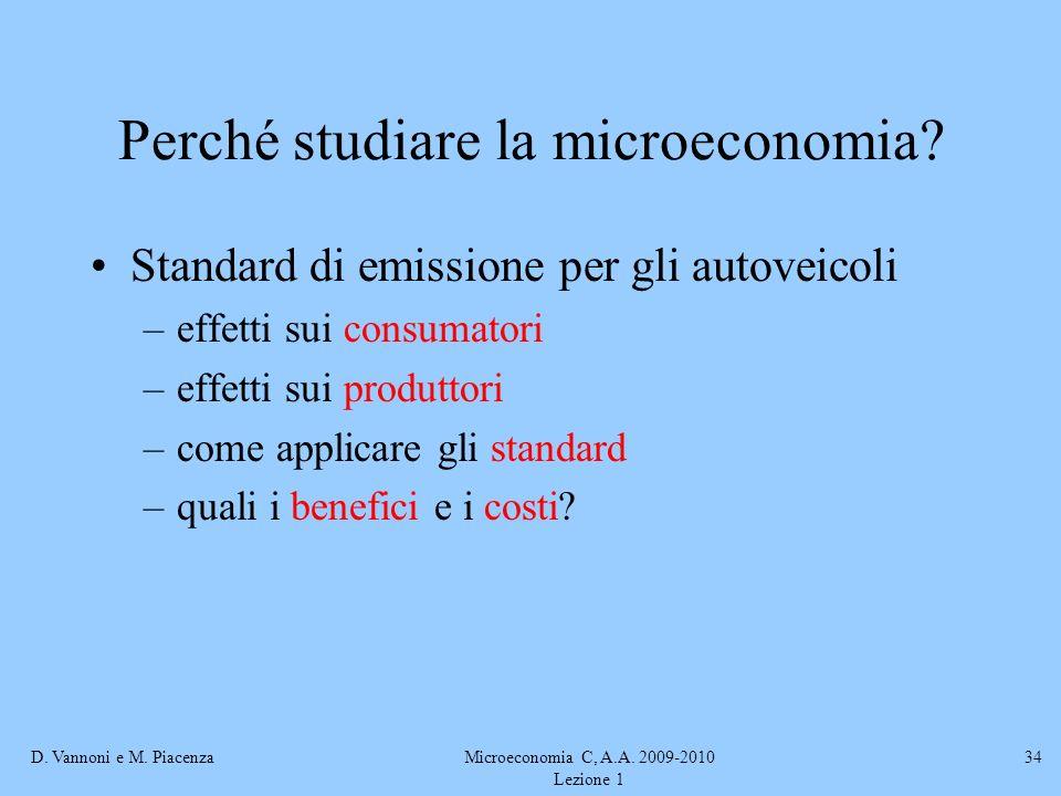 Perché studiare la microeconomia
