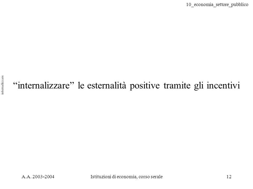 internalizzare le esternalità positive tramite gli incentivi