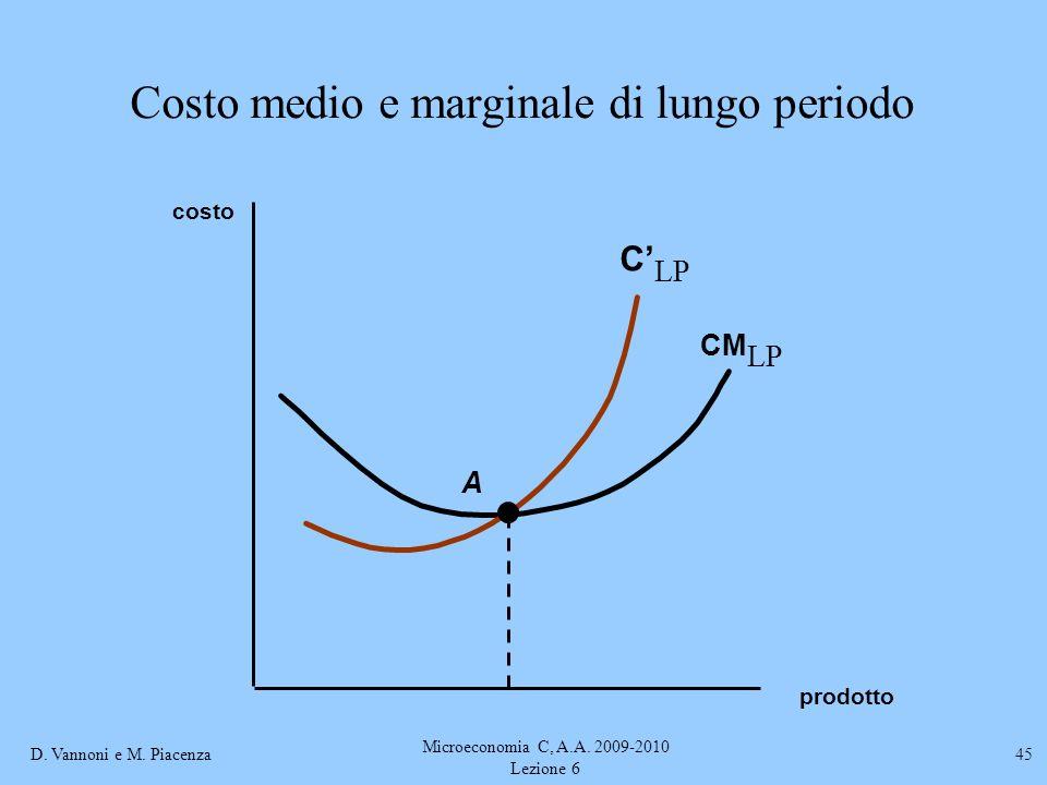 Costo medio e marginale di lungo periodo