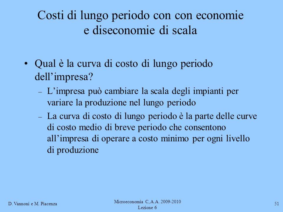 Costi di lungo periodo con con economie e diseconomie di scala