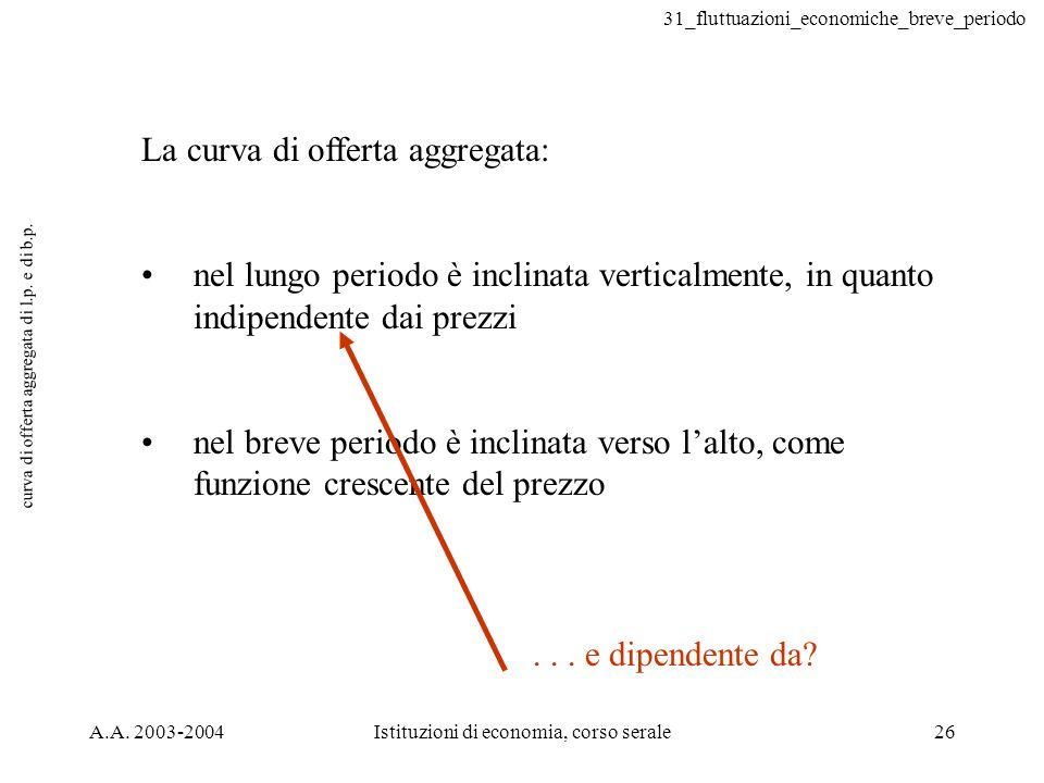 curva di offerta aggregata di l.p. e di b.p.