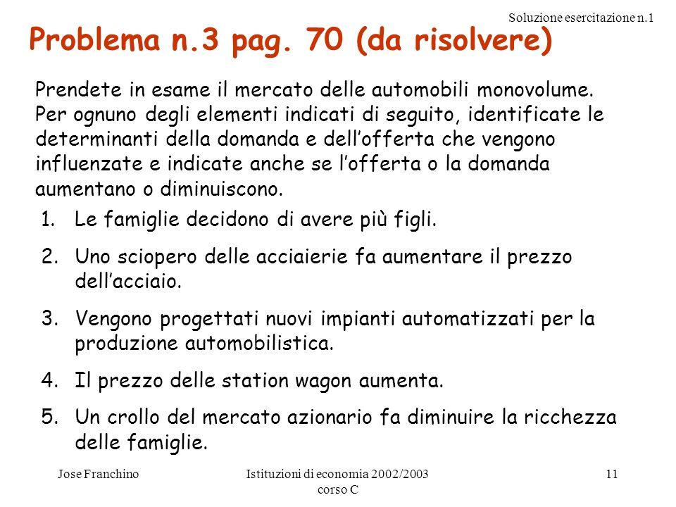 Problema n.3 pag. 70 (da risolvere)