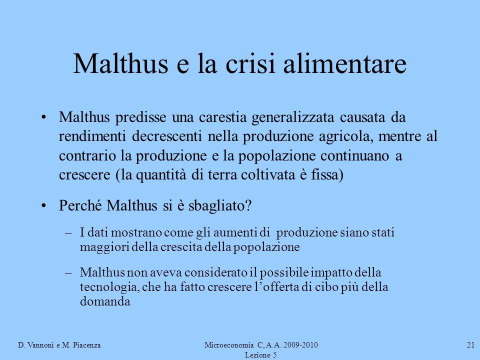 Malthus e la crisi alimentare