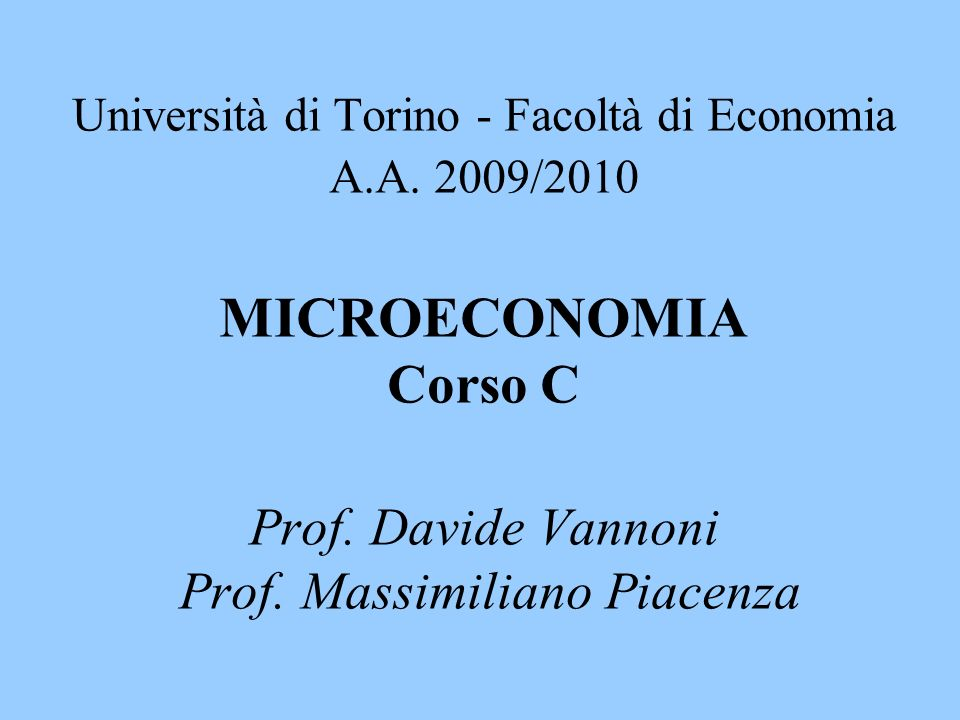 Università di Torino - Facoltà di Economia A. A
