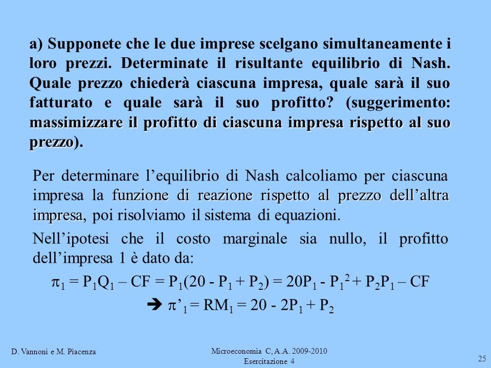 1 = P1Q1 – CF = P1(20 - P1 + P2) = 20P1 - P12 + P2P1 – CF