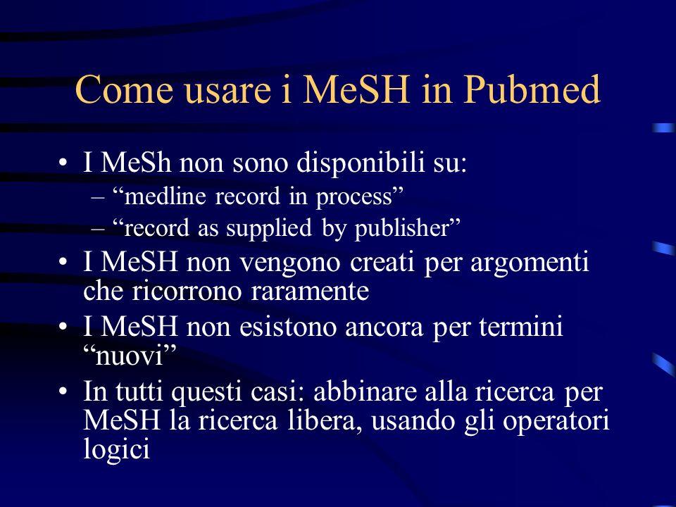 Come usare i MeSH in Pubmed