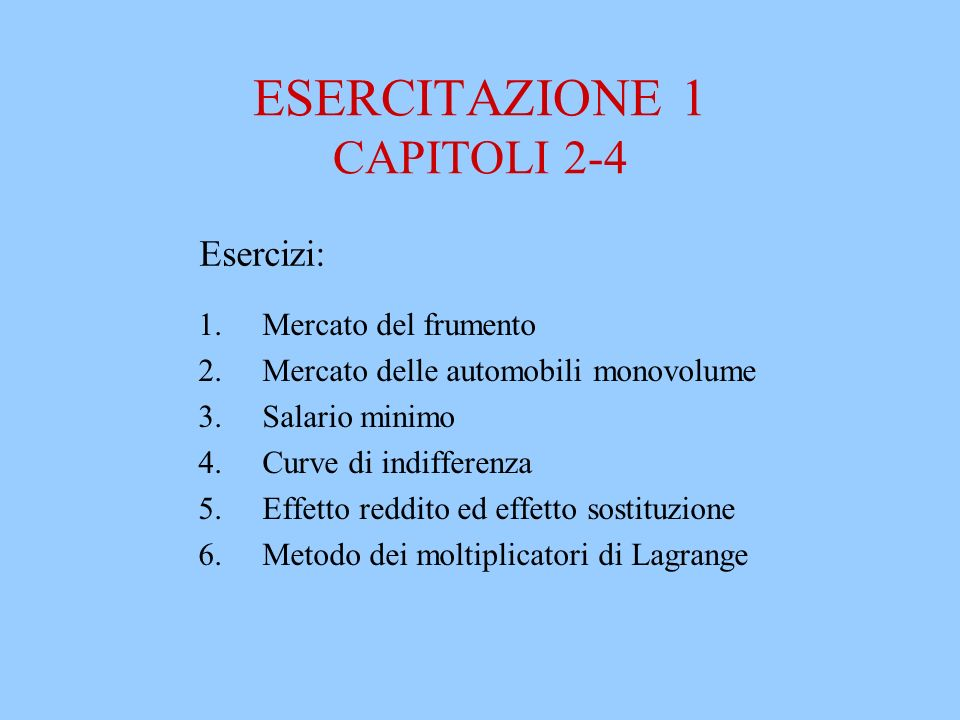 ESERCITAZIONE 1 CAPITOLI 2-4