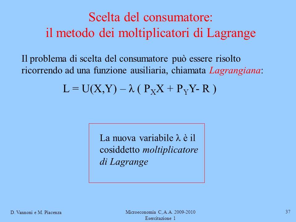 Scelta del consumatore: il metodo dei moltiplicatori di Lagrange