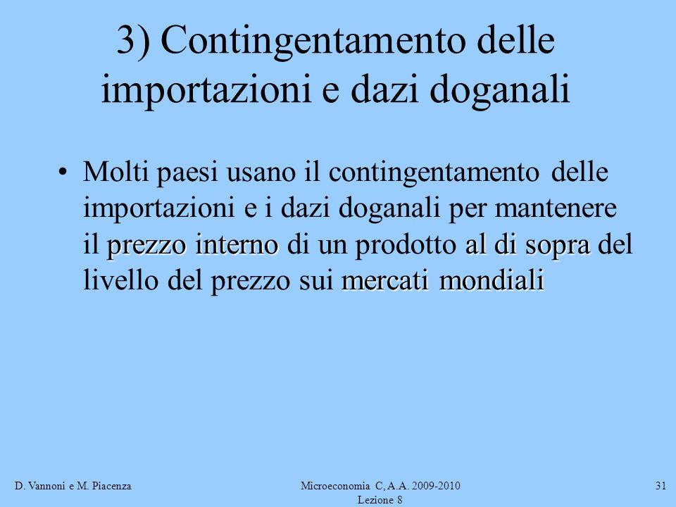 3) Contingentamento delle importazioni e dazi doganali
