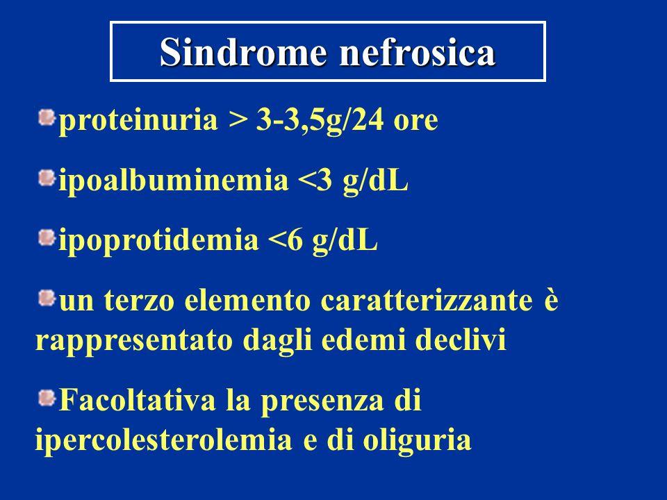 Sindrome nefrosica proteinuria > 3-3,5g/24 ore