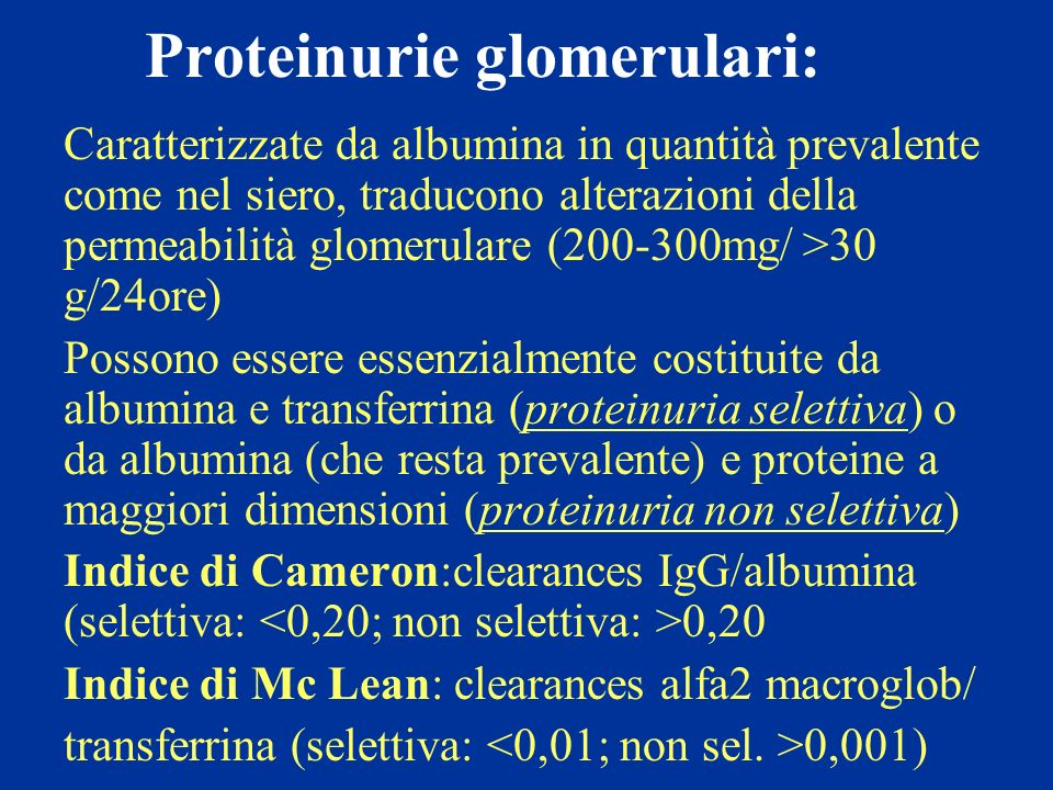 Proteinurie glomerulari: