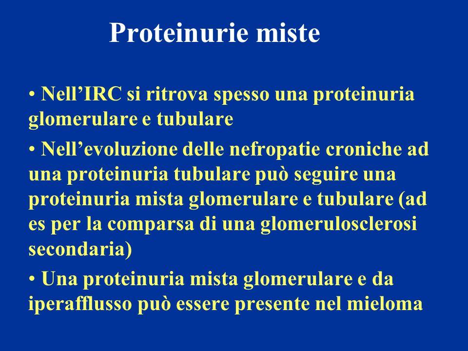 Proteinurie miste Nell'IRC si ritrova spesso una proteinuria glomerulare e tubulare.