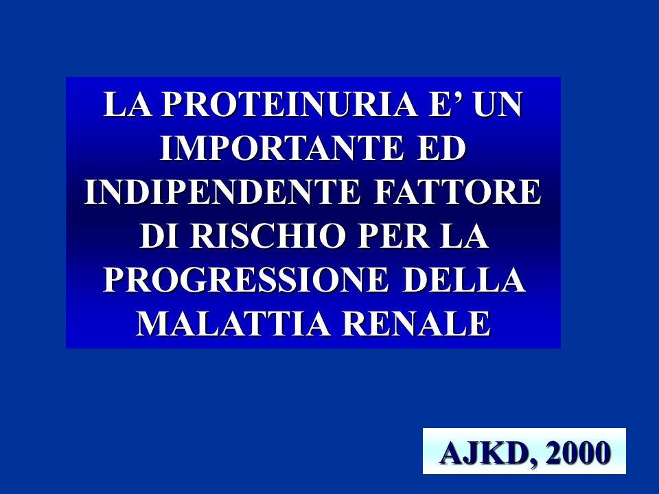 LA PROTEINURIA E' UN IMPORTANTE ED INDIPENDENTE FATTORE DI RISCHIO PER LA PROGRESSIONE DELLA MALATTIA RENALE