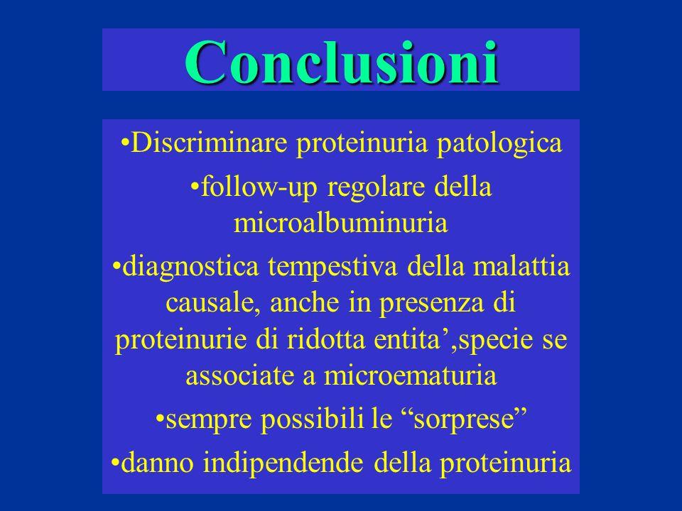 Conclusioni Discriminare proteinuria patologica