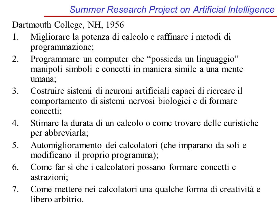 Summer Research Project on Artificial Intelligence