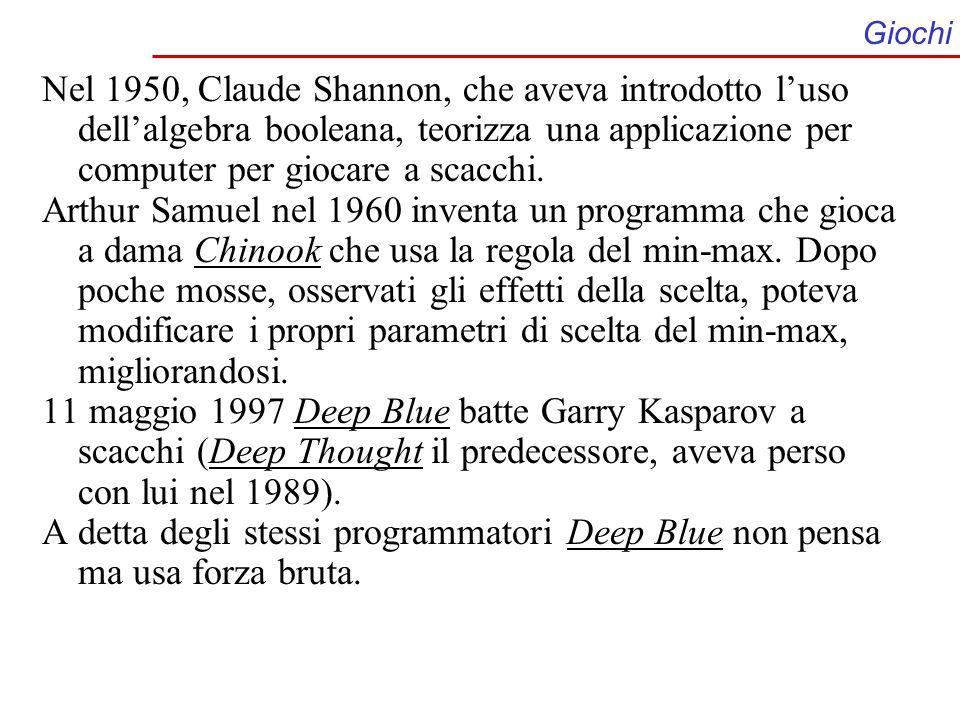 Giochi Nel 1950, Claude Shannon, che aveva introdotto l'uso dell'algebra booleana, teorizza una applicazione per computer per giocare a scacchi.
