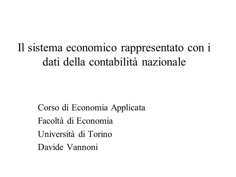 Il sistema economico rappresentato con i dati della contabilità nazionale