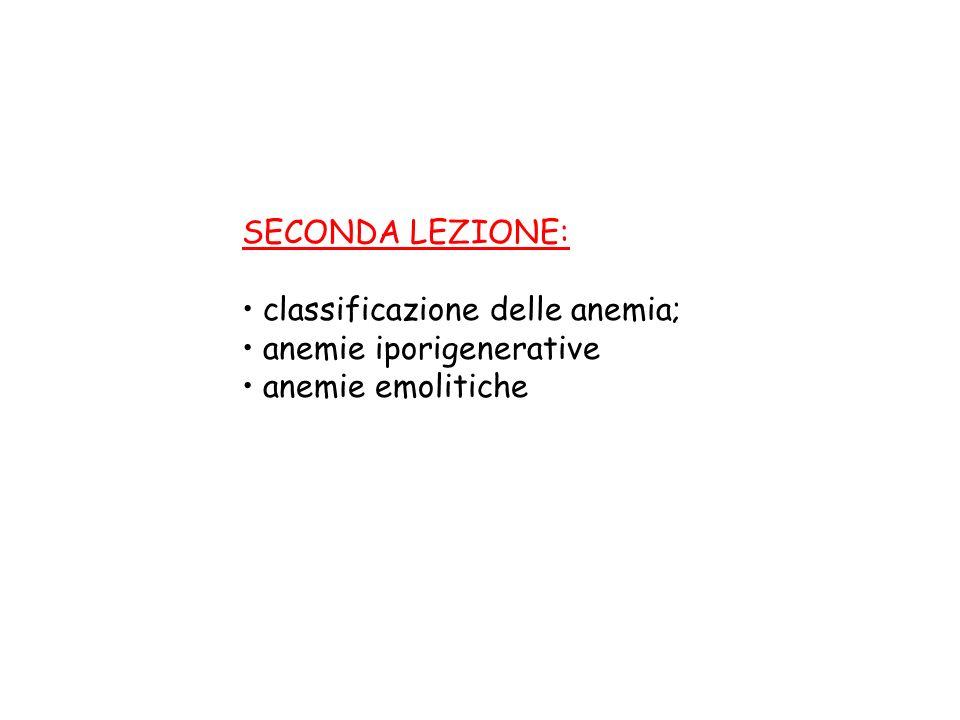 SECONDA LEZIONE: classificazione delle anemia; anemie iporigenerative anemie emolitiche