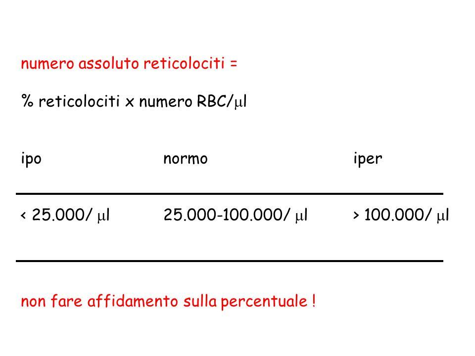 numero assoluto reticolociti =