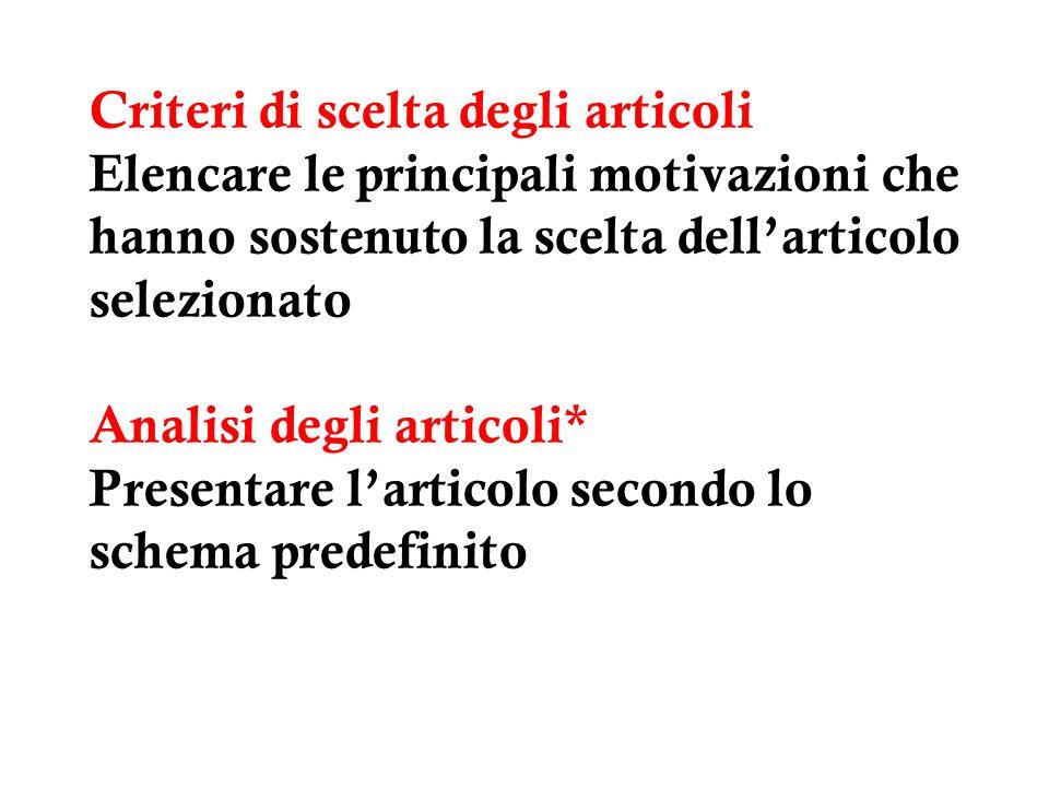 Criteri di scelta degli articoli Elencare le principali motivazioni che hanno sostenuto la scelta dell'articolo selezionato Analisi degli articoli* Presentare l'articolo secondo lo schema predefinito