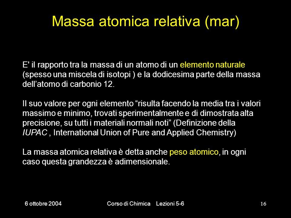 Massa atomica relativa (mar)
