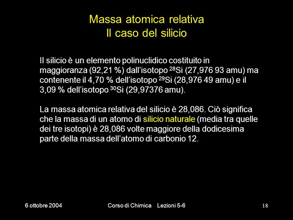 Massa atomica relativa Il caso del silicio
