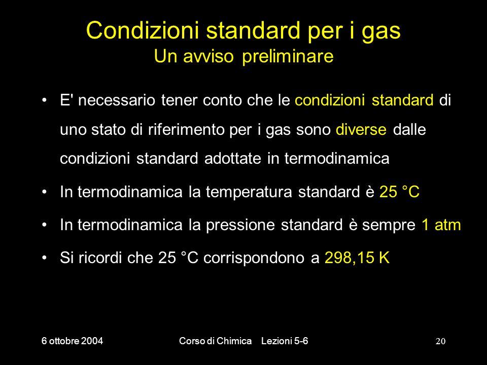Condizioni standard per i gas Un avviso preliminare