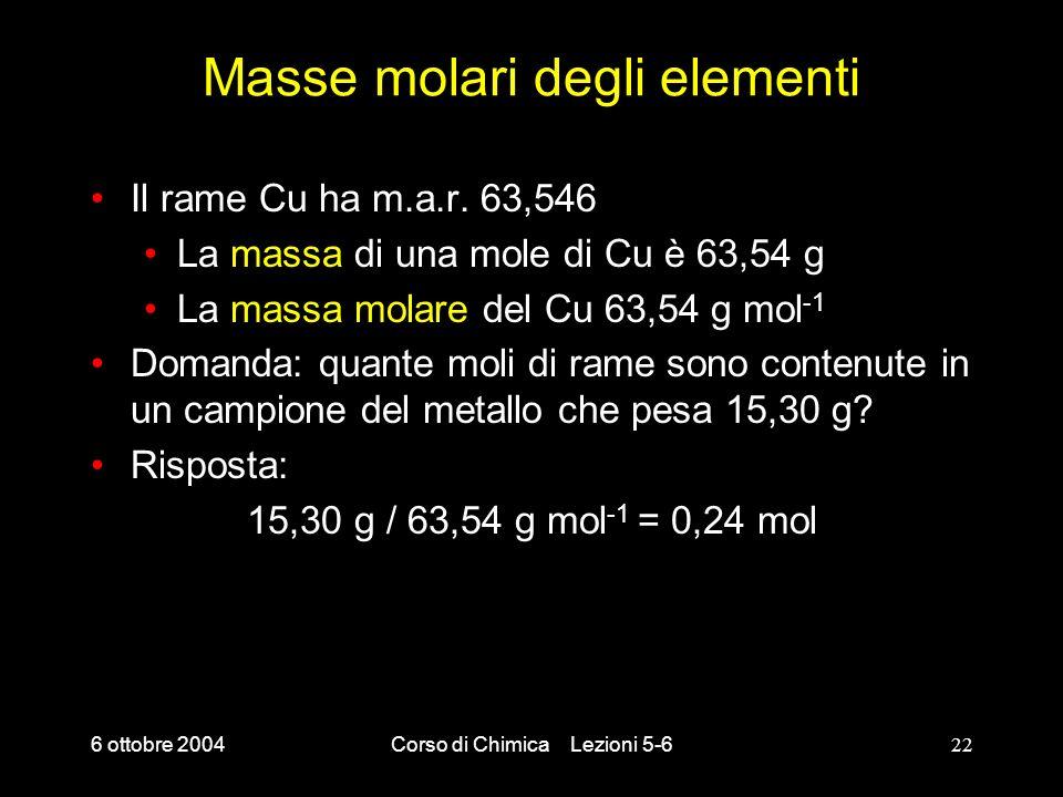 Masse molari degli elementi