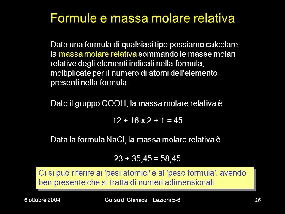 Formule e massa molare relativa