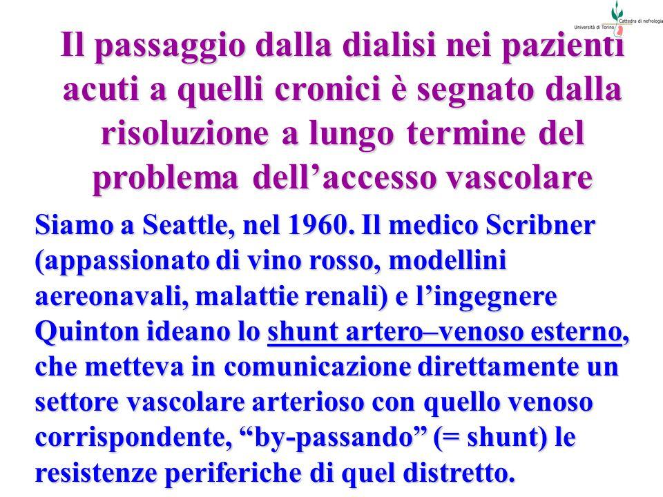 Il passaggio dalla dialisi nei pazienti acuti a quelli cronici è segnato dalla risoluzione a lungo termine del problema dell'accesso vascolare
