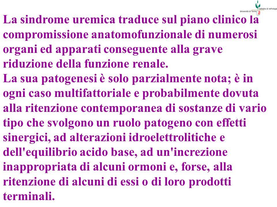 La sindrome uremica traduce sul piano clinico la compromissione anatomofunzionale di numerosi organi ed apparati conseguente alla grave riduzione della funzione renale.