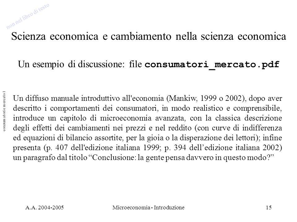 Scienza economica e cambiamento nella scienza economica